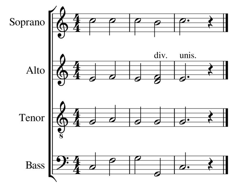 混声四部合唱の例