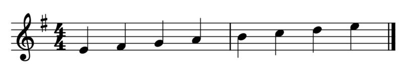 ホ短調のラシドレミファソラ