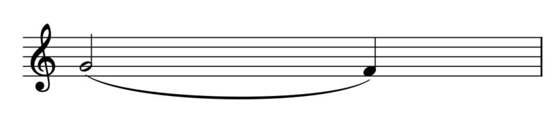 スラーの例(2分音符+4分音符)