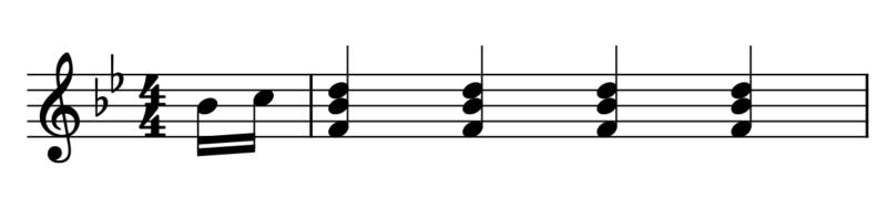 4拍子4拍目裏16分音符開始(曲の始め方)
