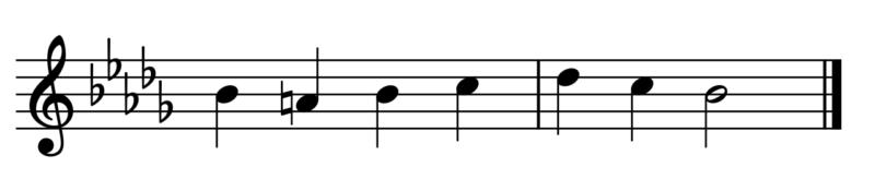 ♭5つの例題(調の見分け方)