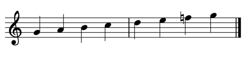 ト調(ファ♯なし)の音階